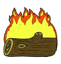 Comic cartoon burning log vector
