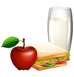 Breakfast set with sandwiches and milk vector