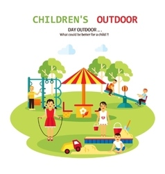 Outdoor playground flat vector