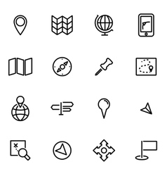 Thin line icons - map vector