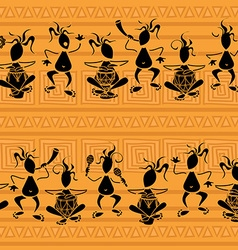 Seamless pattern of tribal musicians vector