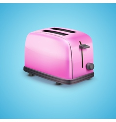 Bright pink toaster on blue background vector image vector image