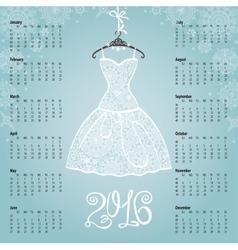 Calendar 2016 yearWhite dresssnowflakes vector image