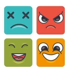 cartoon faces emoticons square vector image