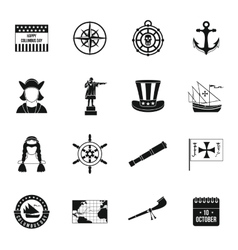 Columbus Day icons set simple style vector image vector image