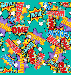 comic book words pop art background seamless vector image vector image