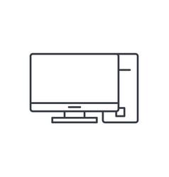 Computer desktop thin line icon linear vector