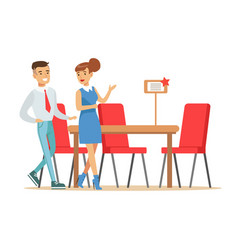 couple buying big dining table and chairs for vector image