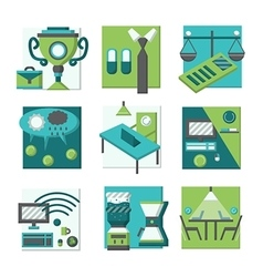 Coworking concepts flat color icons vector image