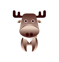 Cute brown deer stylized geometric animal low vector