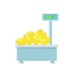 Electronic market scale with lemons vector