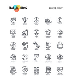 Flat line icons design-power and energy vector