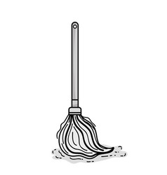 grayscale mop sweep object to clean the house vector image
