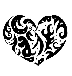 Heart for coloring or tattoo vector