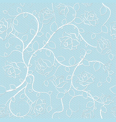 Lace seamless pattern with roses on blue vector