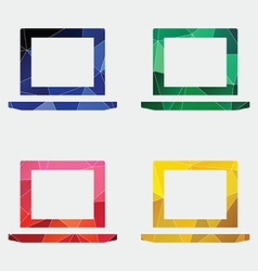 Laptop icon abstract triangle vector