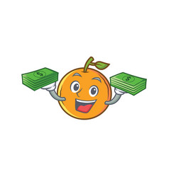 Orange fruit cartoon character with money vector