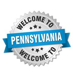Pennsylvania 3d silver badge with blue ribbon vector