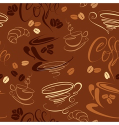 Seamless pattern with coffee cups beans croissant vector image