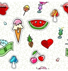 Seamless pattern with fashion patch badges vector image vector image