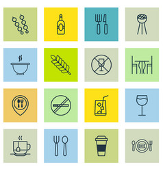 Set of 16 restaurant icons includes hot drink vector