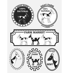 Set of goat labels badges and design elements vector
