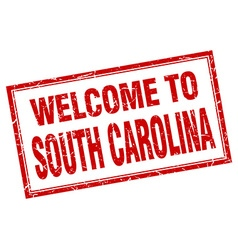 South carolina red square grunge welcome isolated vector