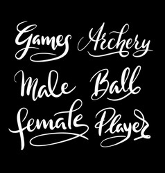 Sport player hand written typography vector