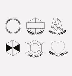 Vintage insignias sketch set in monochrome vector