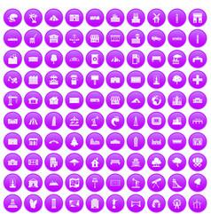 100 landscape element icons set purple vector