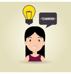 Woman teamwork idea icon vector