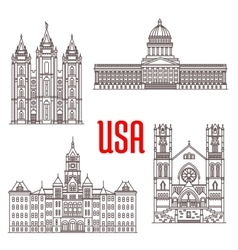 Famous buildings symbols and icons of us vector