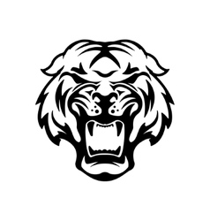 Monochrome angry tiger icon isolated on white vector image