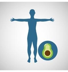 Silhouette man avocado design vector