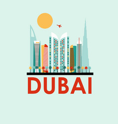 Dubai travel background vector