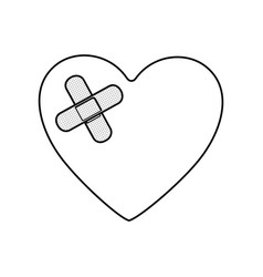 Monochrome silhouette of heart with adhesive vector