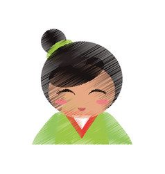 Drawing japanese doll portrait vector