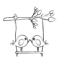 Monochrome sketch of tree branch with swing and vector