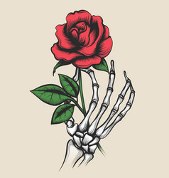 Skeleton hand with rose tattoo style vector