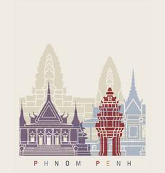 phnom penh skyline poster vector image