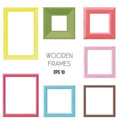 Wooden frames color set vector