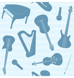 Striped pattern with musical instruments vector