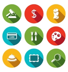 Museum flat icon collection vector