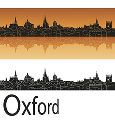 Oxford skyline in orange background vector image