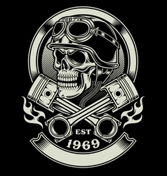 Vintage biker skull with crossed piston emblem vector