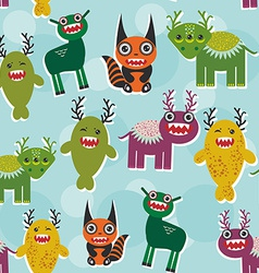 Funny monsters set seamless pattern on blue vector