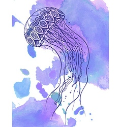 Hand drawn jellyfish in zentangle doodle style vector