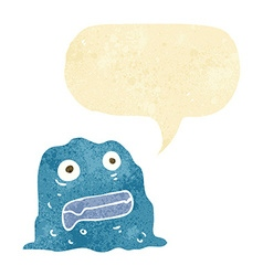 Cartoon slime creature with speech bubble vector