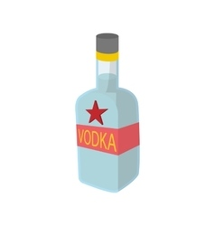 Bottle of vodka icon cartoon style vector