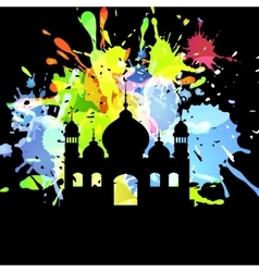 Silhouette of mosque on abstract background vector
